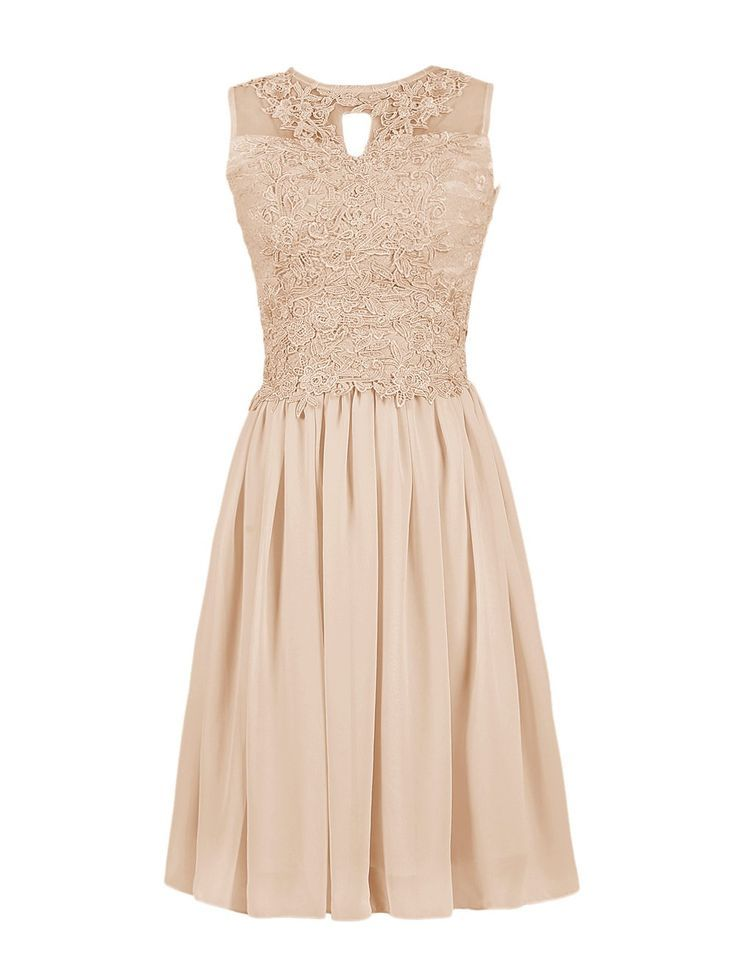 Dressystar Short Lace Chiffon Bridesmaid Dresses Lace-up Party Evening Gowns Size 8 Champagne Women, Men and Kids Outfit Ideas on our website at 7ootd.com #ootd #7ootd