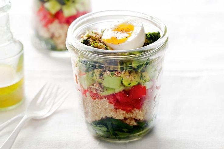Egg and quinoa salad in a jar