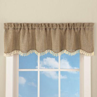 Rustic Burlap Lace Window Valance