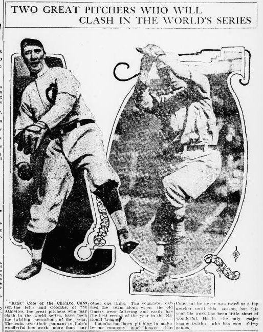 The two great pitchers who will clash from the Chicago Cubs and the Philadelphia Athletics. Story from The Pensacola journal-October 11, 1910.