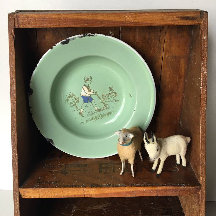 German enamel ware vintage children's plate with illustration~light green~nursery decor collectible  from MilkweedVintageHome by MilkweedVintageHome on Etsy
