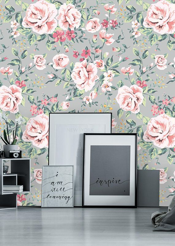 Removable Wallpaper Self Adhesive Wallpaper Pink Vintage Nursery Floral On Gray Background Peel Stick Wallpaper Nursery Wallpaper Vintage Floral Nursery Vintage Nursery Nursery Wallpaper