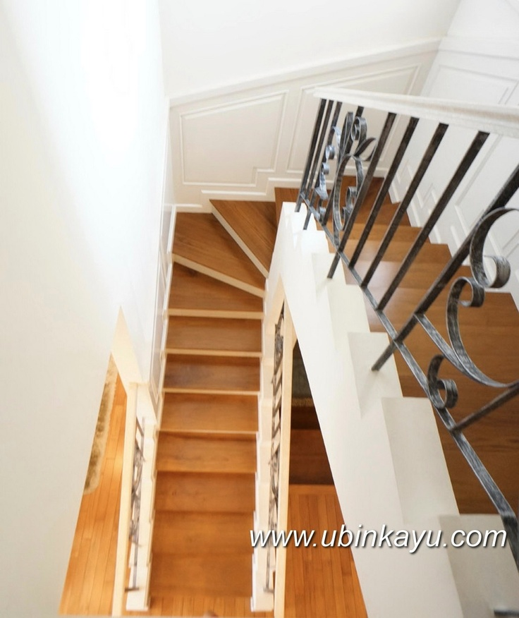 Teak solid wooden staircase