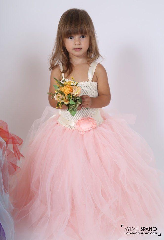 1209ddb0c99071 Robe tutu, robe de ceremonie en tulle enfant ou bébé, rose poudré ...