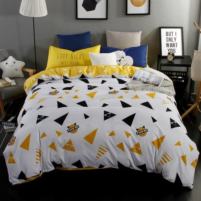 Yellow bed sheet single twin size duvet cover bedding pillow case,3/4pcs bedding set soft duvet cover set for adults bed linens