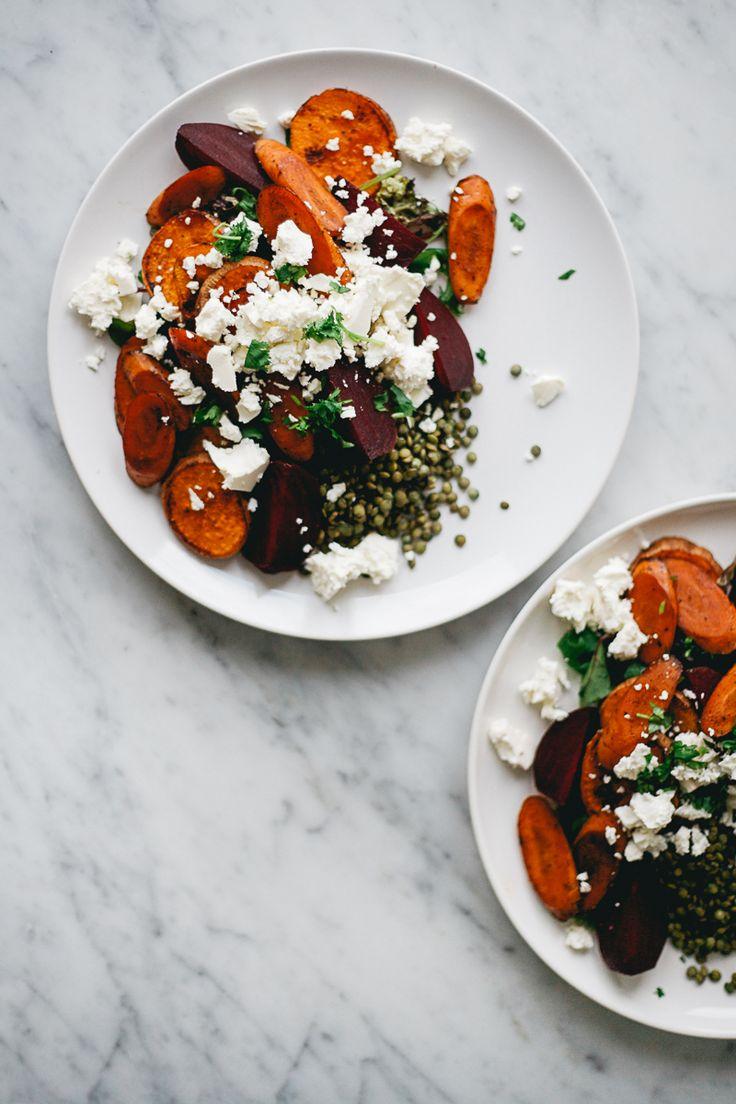 roasted vegetables and lentil salad with feta and yogurt / garlic dressing   Rene Kemps