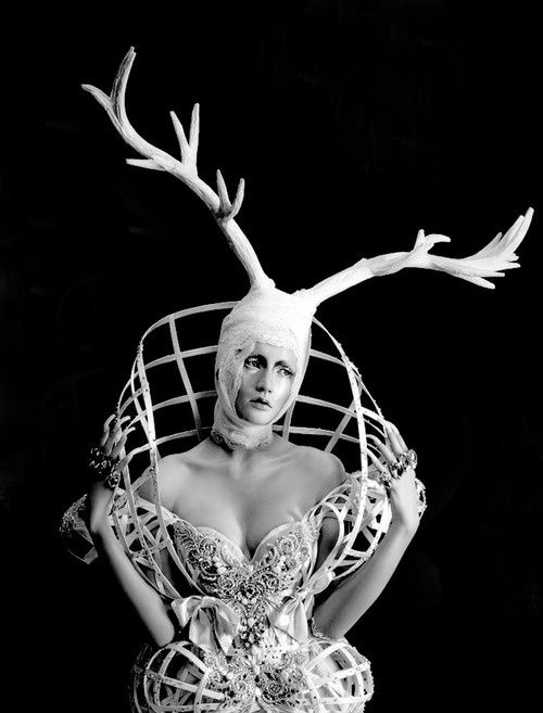 Sculptural Fashion - cage dress & antlers headpiece; artistic fashion design // Amato Haute Couture