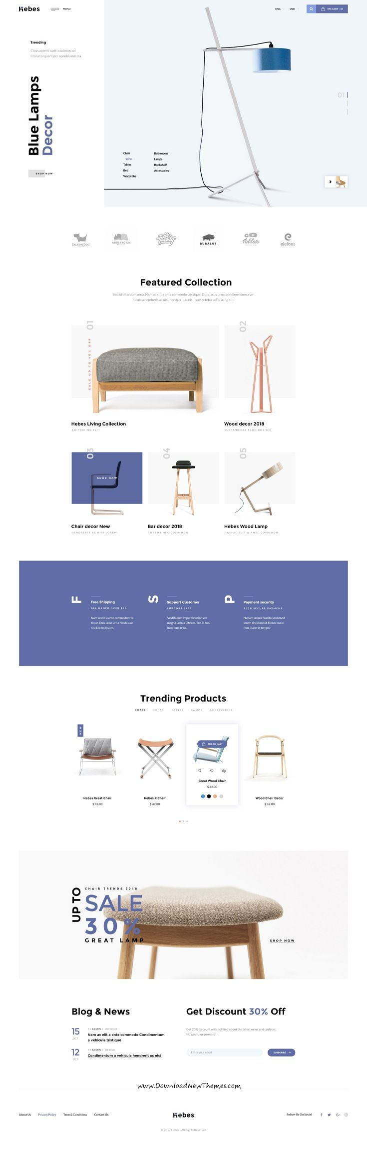 HEBES is clean, stylish and modern design PSD template for sunning interior, decor, furniture shop eCommerce website with 16 niche homepage #layouts and 78 layered PSD pages to live preview & download click on Visit #onlineshop #webdesign