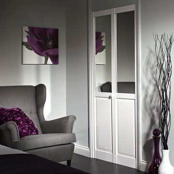 White Primed Pine 2 Panel Mirror Bifold Door | Bi fold Doors
