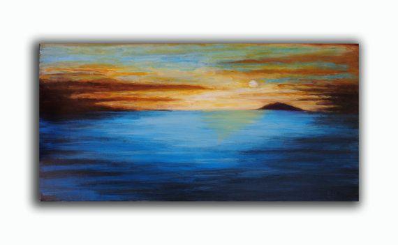 Landscape Painting  Seascape BLUE Large Original by RomanArtStudio, $269.00