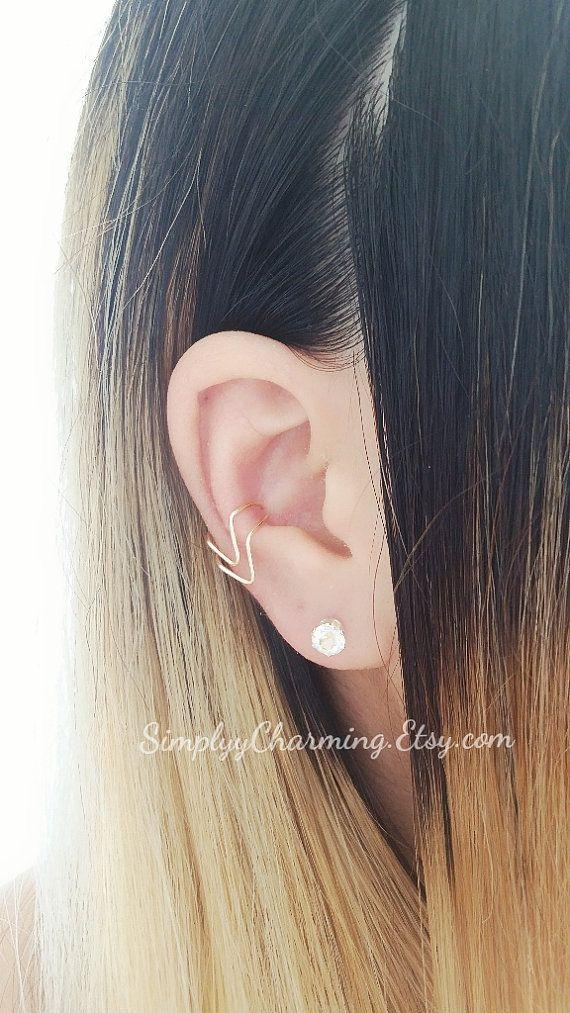 Dubbele Chevron Ear Cuff Conch Earring kraakbeen Helix Clip op, geen Piercing geometrische sieraden - Sterling Zilver, 14K goud gevuld