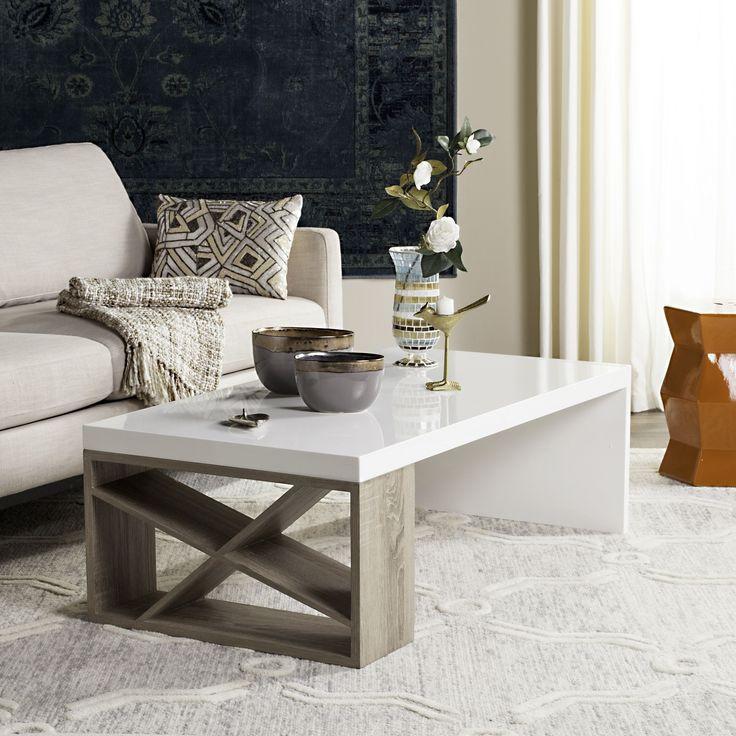 Safavieh Carlton Scandinavian Side Storage Lacquer Coffee (Brown) Table (FOX4236A)