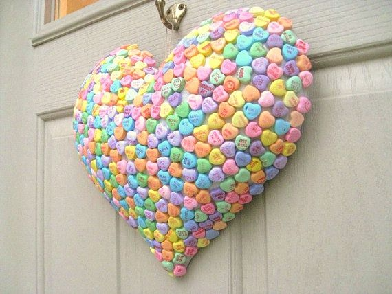 Valentine Decoration  Candy Hearts Puffy Heart by AWorkofHeartSA