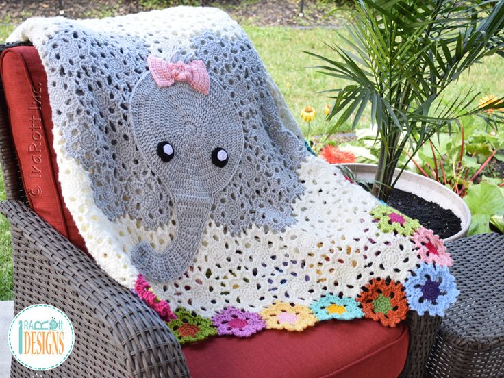 Crochet pattern PDF by IraRott for making an adorable elephant baby blanket or throw