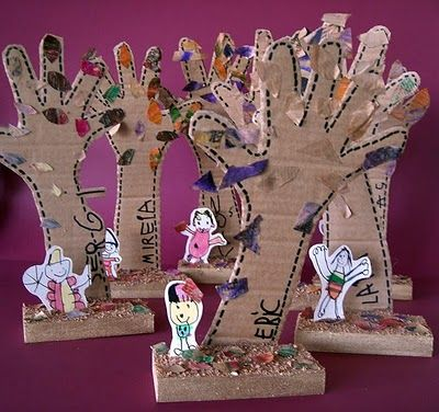 Branches made from unique hands... a craft idea for a group of kids to put together to form one tree....... slowly formulating this idea....