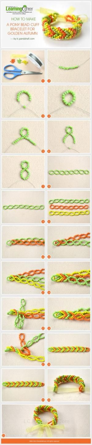 How to Make a Pony Bead Cuff Bracelet for Golden Autumn by SAburns