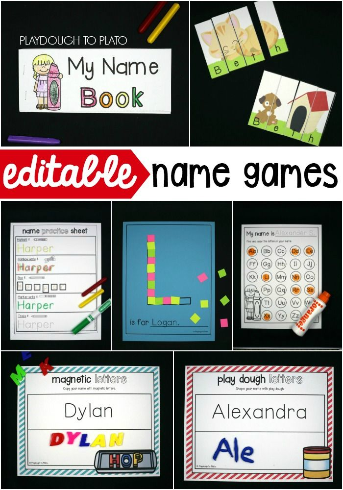 Editable name games! Perfect for preschool or kindergarten as we go back to school this fall! A great way to help kids learn how to spell and write their name and the names of others in their class!