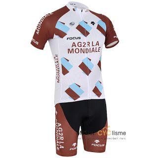 maillot cyclisme a pas cher.: Maillot Cyclisme AG2R 2015 manches courtes kits