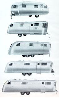 Various models of the Spartan travel trailer
