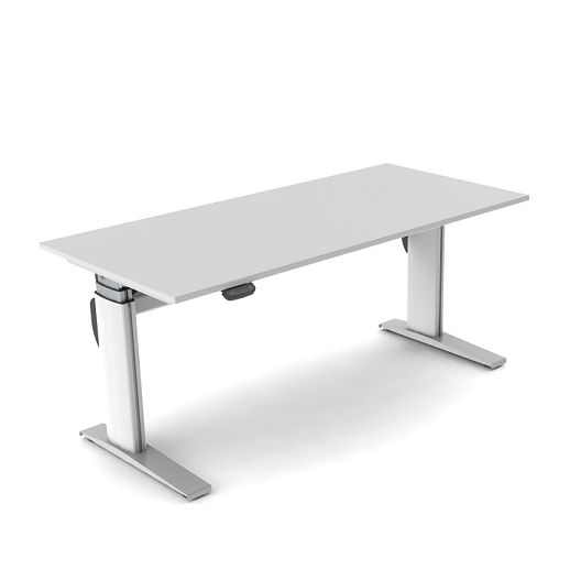 The Sit 'n' Stand electric height adjustable office desk is the perfect answer for creating a highly versatile working environment.  The motorised movement provides a desk height surface which rises from sitting to standing height as it glides from 600mm through to 1255mm above floor level with its motorised movement.  The Sit 'n' Stand worktop is available in a variety of finishes with the frame finished in a Pearl White powdercoat.