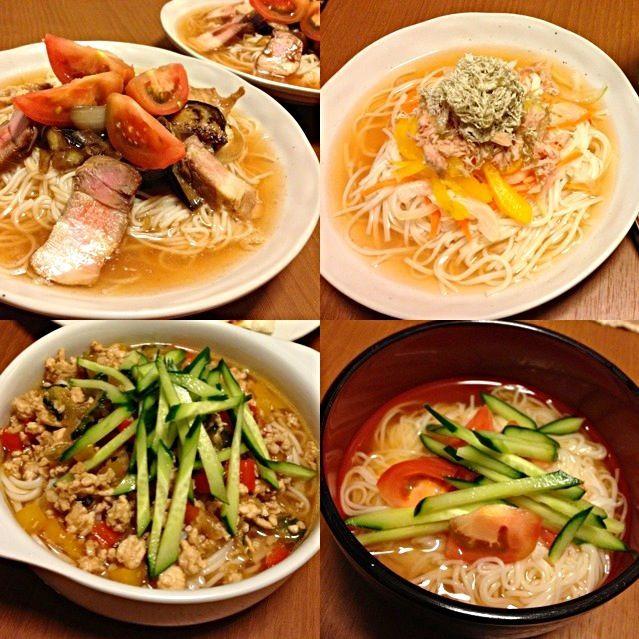 冷麺つゆと素麺を別々で、たくさんいただいたので…σ^_^; - 12件のもぐもぐ - 素麺&冷麺つゆ 4種類 by mico4811