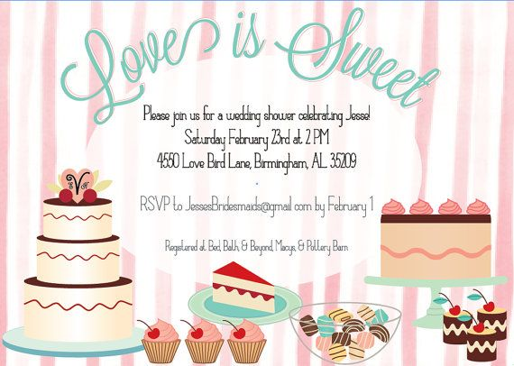 quotlove is sweetquot dessert themed shower invitation there