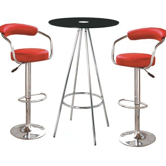 Having This Amber Black Glass Bar Table With 2 Zenith Red