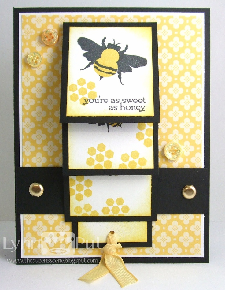 ': Scrapbook Cards, Blog Hop, Bees Cards, Papertrey Ink, Ink February, Waterfall Cards, Queens Scene, February Blog, Honey Bees
