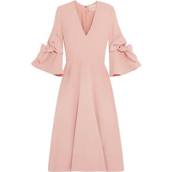 Roksanda Sibella bow-detailed crepe midi dress (£1,095) ❤ liked on Polyvore featuring dresses, pink dress, v neck midi dress, mid calf dresses, bow dress and pink v neck dress