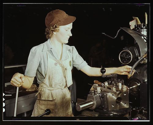 Beulah Faith, 20, used to be sales clerk in department store, reaming tools for transport on lathe machine, Consolidated Aircraft Corp., For...