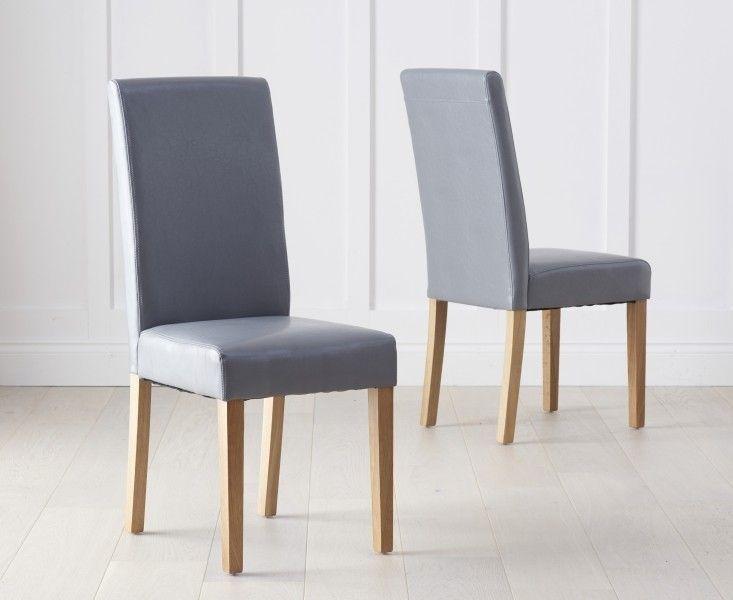 Mark Harris Atlanta Grey Faux Leather Dining Chair Pair Dining