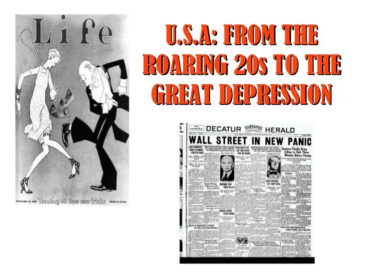 "The ""Roaring Twenties"" period in the USA, the causes of the 1929 crash, the Great Depression and the economic decisions to face the crisis."