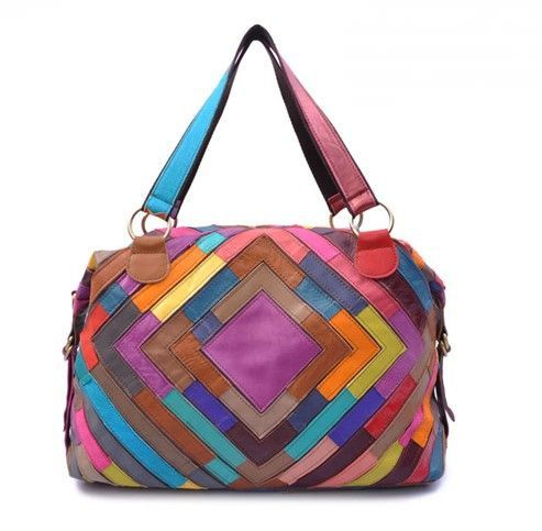 Multi Color Tote Bag Purse Leather Patchwork Handbag Quadrate Pattern If It Only Looked Good On Me Pinterest Bags Purses And