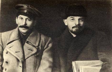 Leaders of the Russian revolution - Stalin & Lenin.