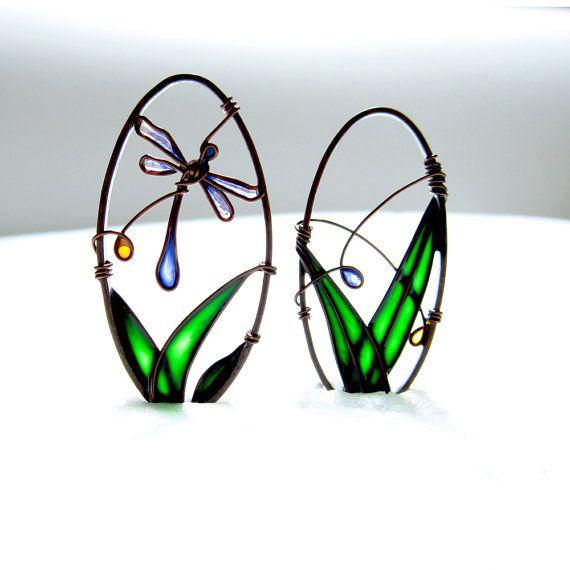 Blue Dragonfly Earrings. Oval Earrings. Dragonfly by KUKLAstudio, €29.00