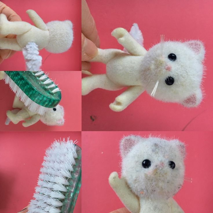 How clean your sylvanian doll, nail brush no wet. By Elliecreativeartidea