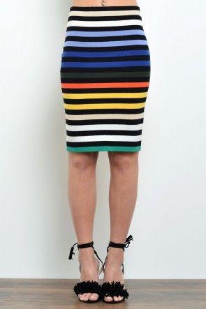 Danni Multi Striped Knit Skirt