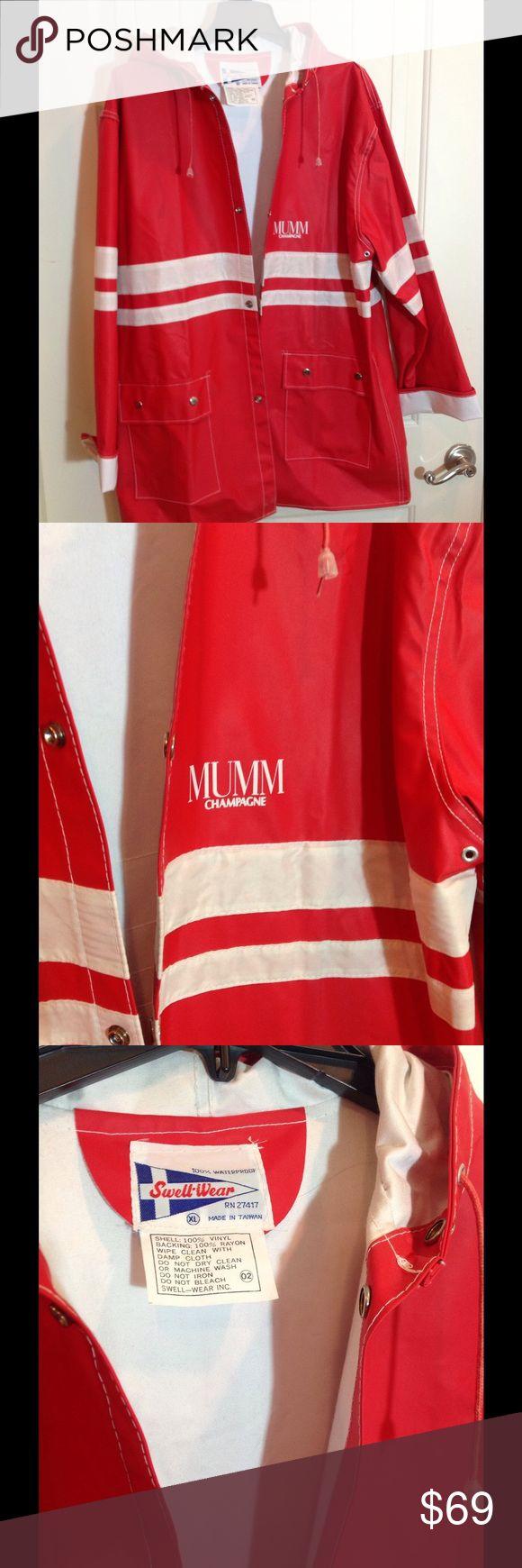 Mens Red Raincoat 100% Waterproof!!  XLg Bright red raincoat.  'Mumm' Champagne logo!  Mens XLg. VERY RARE.  Like new!! Jackets & Coats Raincoats