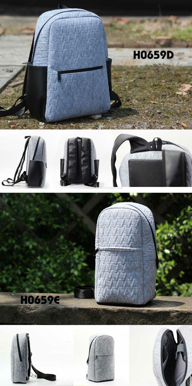 2014 new fashion grey embossing# felt backpack bag# with black PU strap and grey embossing felt single-shoulder bag, do you like it? @ 2087 @derite78@gmail.com