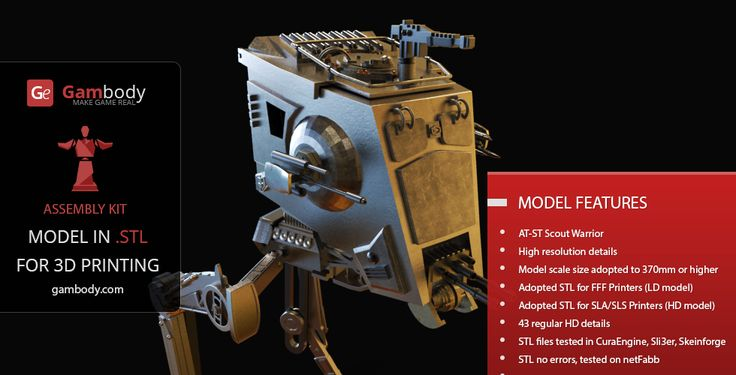 AT-ST Walker 3D Printable Model  - Space War Online for 3D Mode for printing