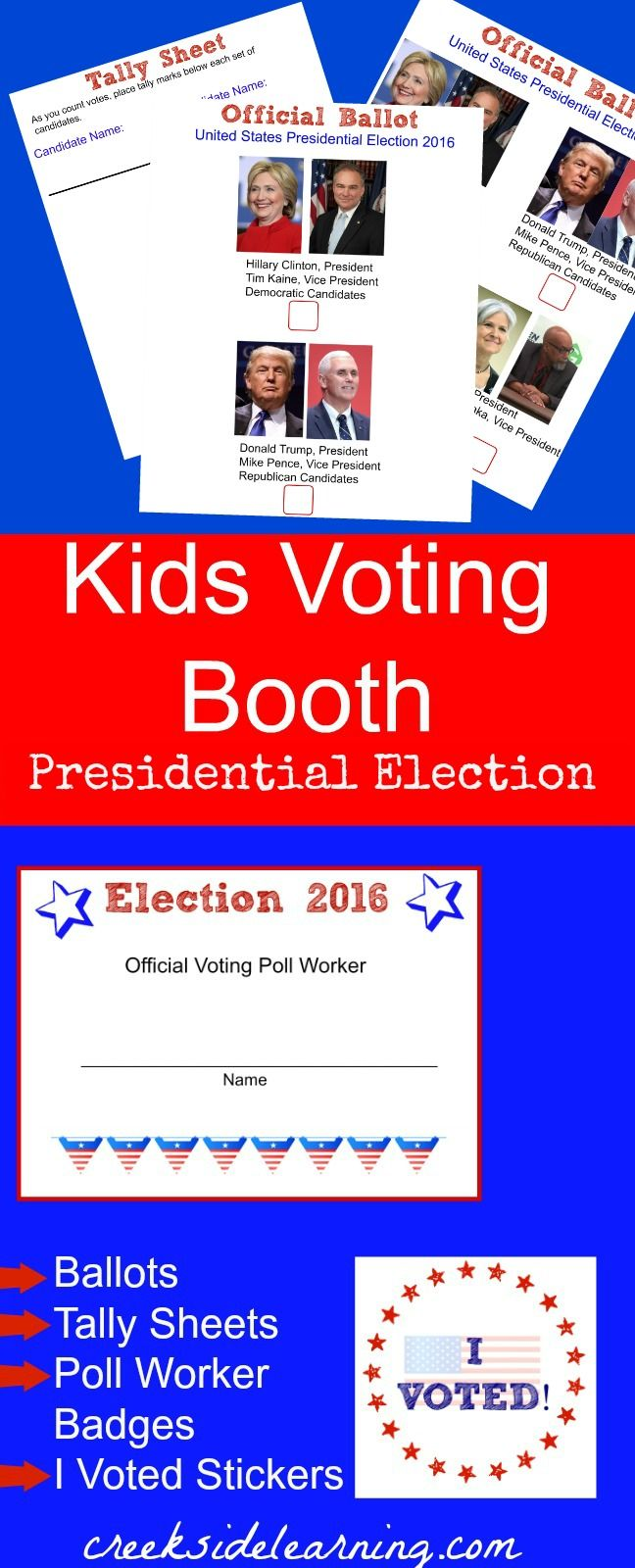 presidential election for kids | voting ballots, tally sheets, voter demographic collection, I VOTED stickers | free download voting activities for kids | elementary school, middle school | set up a kids voting booth with kid poll workers