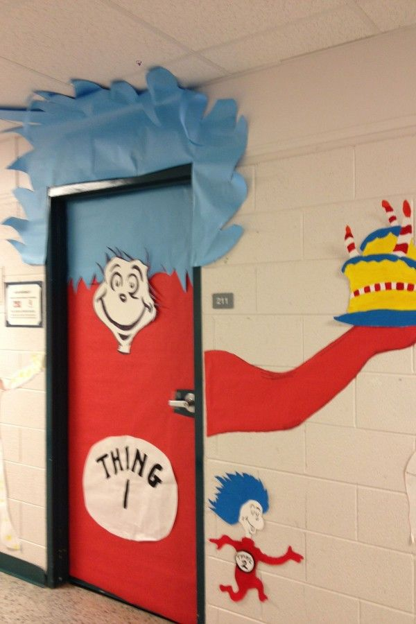 Thing 1 Thing 2 Decoration Ideas In 2020 Dr Seuss Classroom Door Decorations Dr Seuss Classroom Door Dr Seuss Classroom