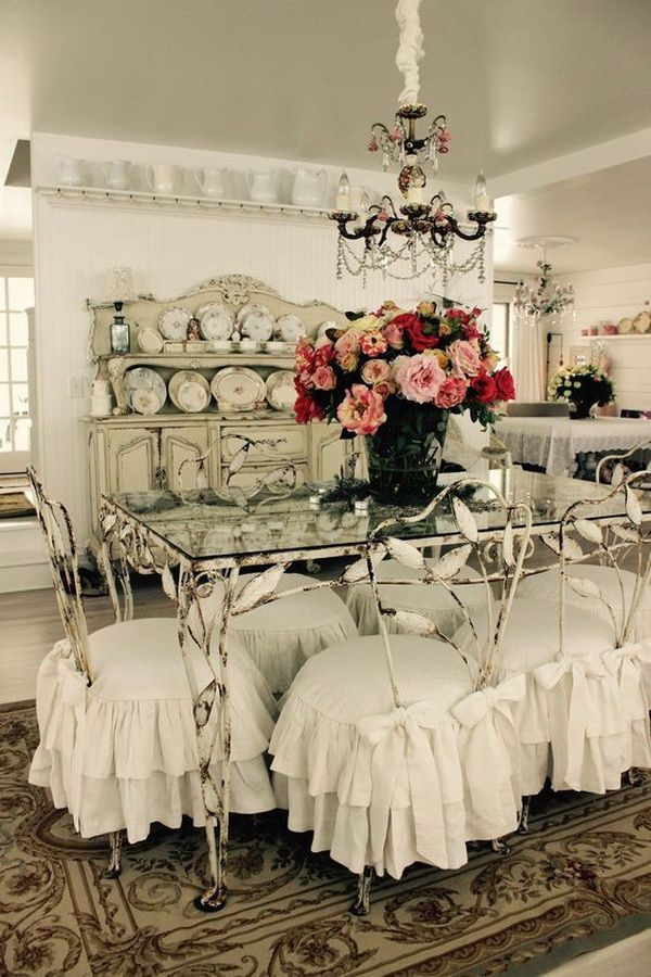 Shabby Chic White Ruffled Slipcovers.