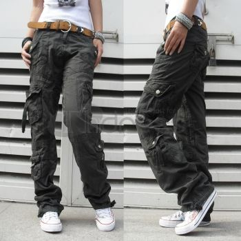 Casual Pants-Ladies thick cargo pants