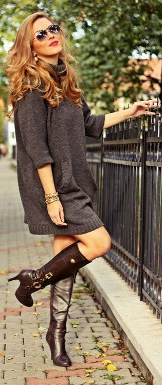 Oversized Turtleneck Sweaterdress With Chesnut Brown Boots, sparkly bangles, and huge sunglasses