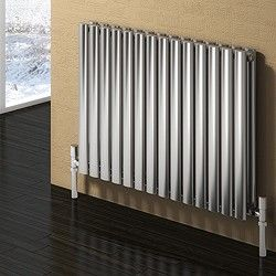 reina radiators > nerox double radiator (brushed stainless steel). 413x600. - taps4less.com - #radiator #bathroom