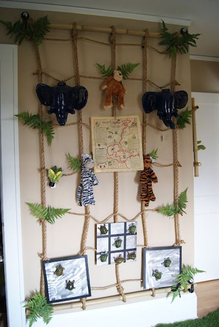 jungle bedroom display with rope bamboo and jellycat toys- my daughter already has the zebra