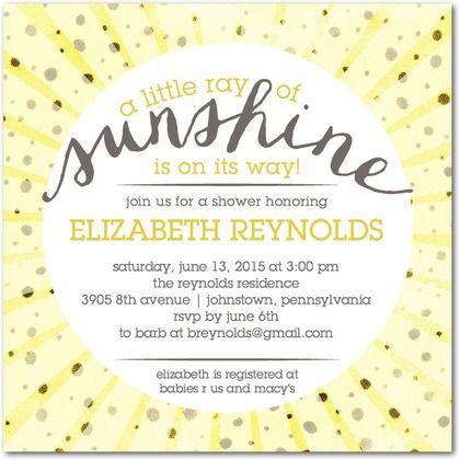 A Little Sunshine - Baby Shower Invitations in Sunflower | Sarah Hawkins Designs