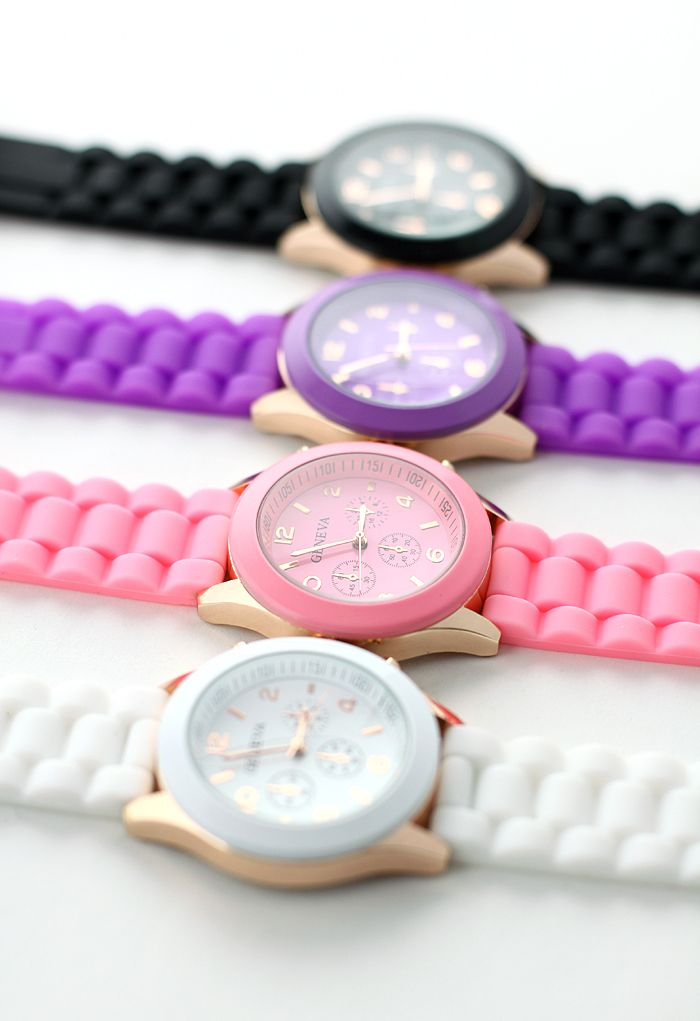 Candy Color Crystal Quartz Watch PURPLE!!