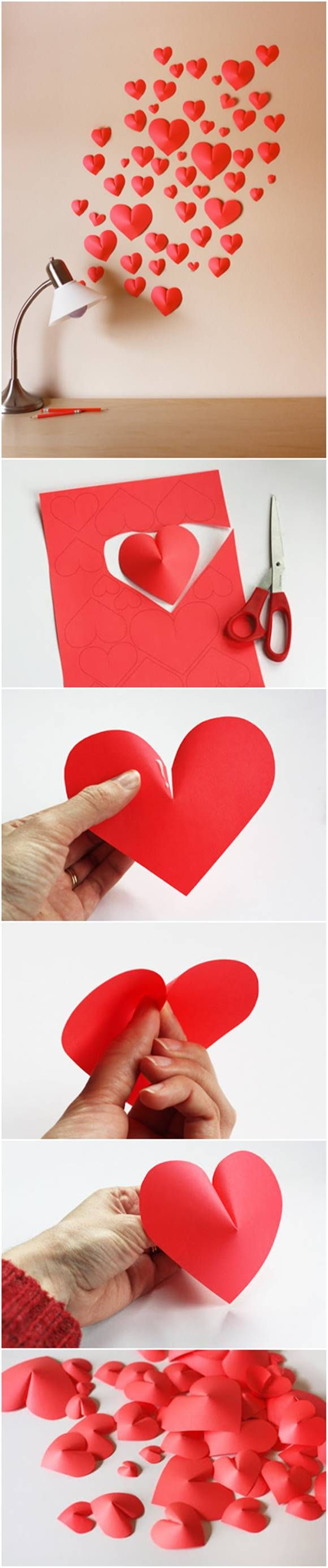 How to Make Paper Hearts Wall Decor #craft #decor #paper